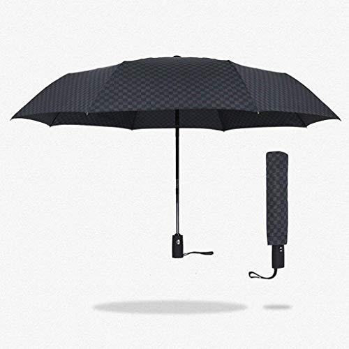 YNHNI In Sich selbst geschlossene selbstgemachte doppelte Regenschirm-Herren-Dreifache-Fachgitter-Gentleman Sunny Regenschirm,tragbar
