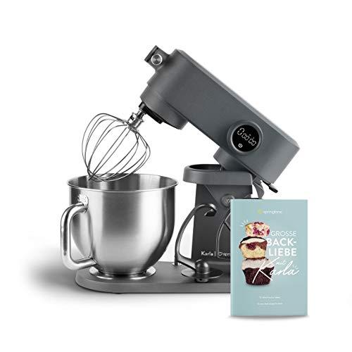 Küchenmaschine Karla 800W, 5,2L Edelstahl Rührschüssel, Knetmaschine inkl. Teighaken, Rührbesen, Schneebesen und Spritzschutz - Anthrazit