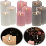 LS-LebenStil 3D Stumpenkerze Grau 3´er Set Echtwachs flackernde Kerzen Timer bewegliche Flamme