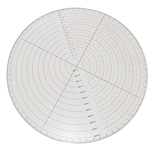 Harilla Herramienta de regla de patchwork redonda transparente, plantillas de acolchado, plantilla acrílica, herramienta de medición de costura manual de