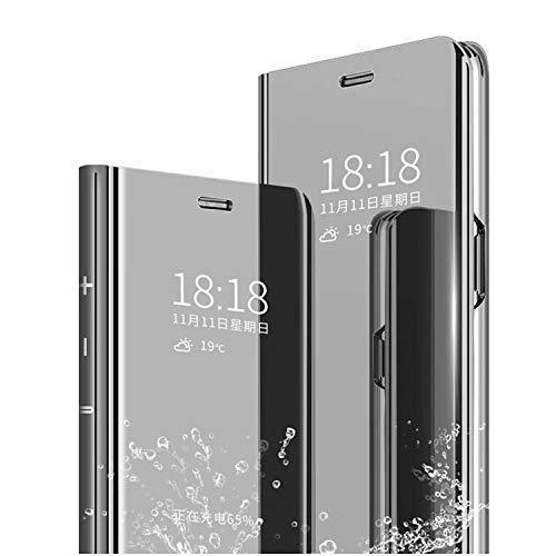 cookaR Oppo F15/A91/Reno 3 4G Hülle Spiegel Schutzhülle Flip Handy Hülle mit Standfunktion Handyhülle Tasche für Oppo F15/OPPO A91 Smartphone,Schwarz