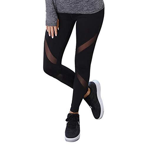 GoVIA Mesh Leggings Damen Sporthose mit Netzeinsätzen Workout High Waist 4107 Schwarz L/XL