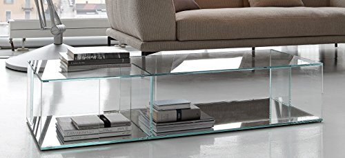 L'Aquila Design Arredamenti BONALDO tavolino Folio trasparente rettangolare in cristallo salotto caffè TC83