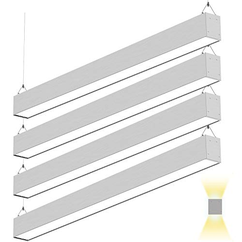 4FT 50W Architectural Direct Indirect LED Suspension Linear Light, 3000K/4000K/5000K CCT Selectable, Silver Finish Dimmable LED Office Lighting Fixture 5500lm for Commercial Space ETL 4pack
