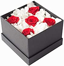 Preserved Rose Flower Red and White,Handmade, Never Withered Roses,Eternity Upscale Immortal Eternal Life Flowers for Love Ones, Gift for Valentine's Day, Anniversary,Christmas, Holiday Amor y Amistad