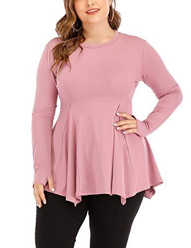 Uoohal Women's Plus Size Athletic Shirts Long Sleeve Swing Sports