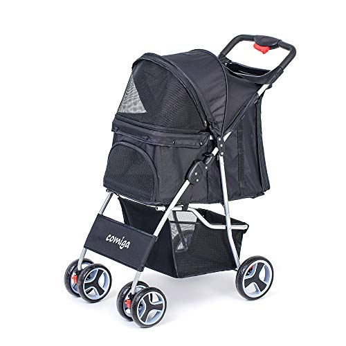 comiga Pet Stroller for Dog & Cat, Four-Wheel Easy Foldable Travel Stroller for Puppy, Kitten,...
