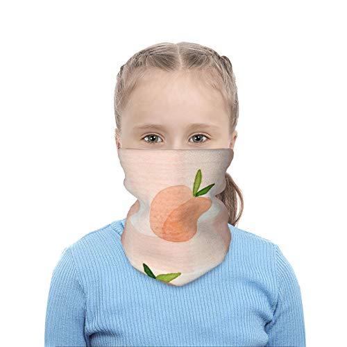 Calentador de cuello para niños con estampado 3D de frutas y durazno, transpirable, lavable, reutilizable, bufanda para niños y niñas de 4 a 10 años, para invierno, deportes al aire libre, esquí