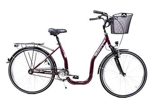 26 Zoll Fahrrad City Bike Tiefeinstieg 1 Gang Single Speed Rücktritt Korb Lila Glanz