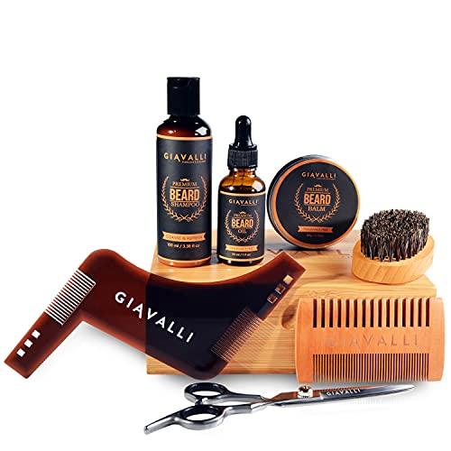 Kit barbe pour homme de Giavalli [NOUVEAU] - Huile pour barbe (30 ml), baume (60 g), pinceau, peigne, stylet, ciseaux, sac de voyage, coffret cadeau en bambou et avec instructions de lecture gratuites