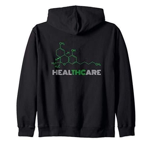 THC Healthcare THC Molecule Structure Weed Cannabis Gift Felpa con Cappuccio