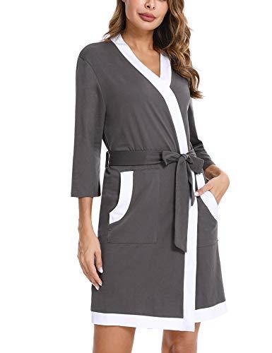 Akalnny Peignoir Femme Coton Robe De Chambre Court Élégant avec 2 Poches pour Toutes Les Saisons,Gris Clair+L