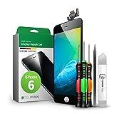 GIGA Fixxoo Kit Completo de Reemplazo de Pantalla iPhone 6 LCD Negro; con Touchscreen, Cristal Retina Display, cámara y Sensor de proximidad - Fácil instalación y reparación guiada DIY
