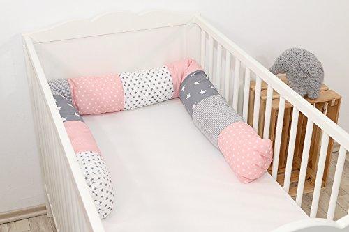 Baby Nestschlange | Made in EU | ÖkoTex 100 | Schadstoffgeprüft | Antiallergisch | Baby Bettumrandung | Bettschlange | Rosa Grau | 200 x 13 cm | ULLENBOOM ®