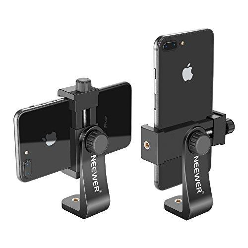 Neewer Smartphone Halter Vertikale Halterung mit 1/4-Zoll-Stativhalterung C Handy Klemme Stativadapter für iPhone Samsung und andere Handys innerhalb von 1,9-3,9 Zoll (schwarz)