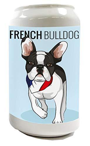 LEotiE SINCE 2004 Spardose Sparbüchse Geld-Dose Wiederverschließbar Farbe Weiß Tierarzt Praxis Motiv französische Bulldogge Keramik Bedruckt