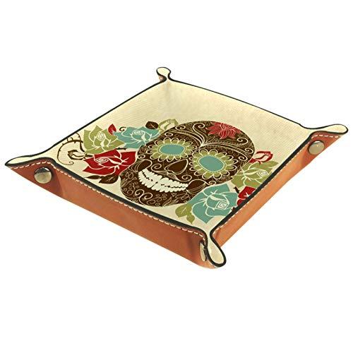 Bandeja de Cuero - Organizador - Flor de cráneo - Práctica Caja de Almacenamiento para Carteras,Relojes,llaves,Monedas,Teléfonos Celulares y Equipos de Oficina