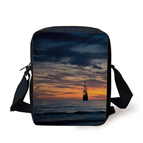 Pirate,Ancient Vessel Sailing Ship Floating on Ocean at Idyllic Sunset Maritime Decorative,Dark Blue Yellow Coral Print Kids Crossbody Messenger Bag Purse