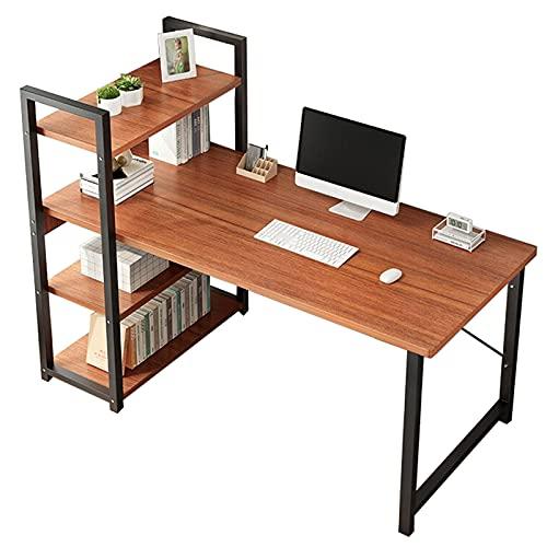 Escritorio de computadora industrial con estantes de almacenamiento Escritorio de oficina grande de 47 pulgadas Estación de trabajo de mesa de escritura de estudio para la oficina en casa Marrón Retro