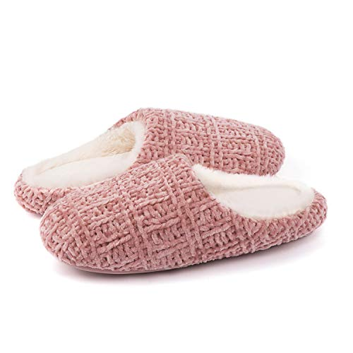 ULTRAIDEAS Women's Plush Chenille Slippers with Memory Foam, Ladies' Fuzzy Slip on House Shoes with Indoor Soft Rubber Sole (Champagne,9-10)