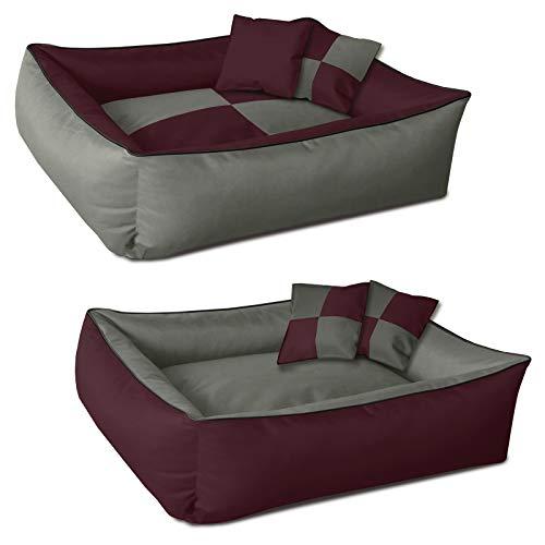 BedDog 2en1 colchón para Perro MAX Quattro XXL Aprox. 120x85 cm, 8 Colores, Cama, sofá,Cesta para Perro, Burdeos/Gris