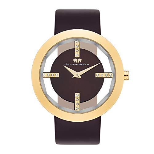 Rhodenwald & Söhne Lucrezia Damenuhr Edelstahl Gold 3 ATM verziert mit Kristallen von Swarovski® Lederarmband Braun - Fashion-Uhr für Frauen in Skeletonoptik