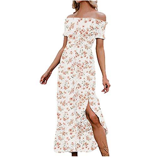 Vestidos sexy para mujer con curvas vestido casual para las mujeres Boho vestido fuera del hombro vestido blanco L