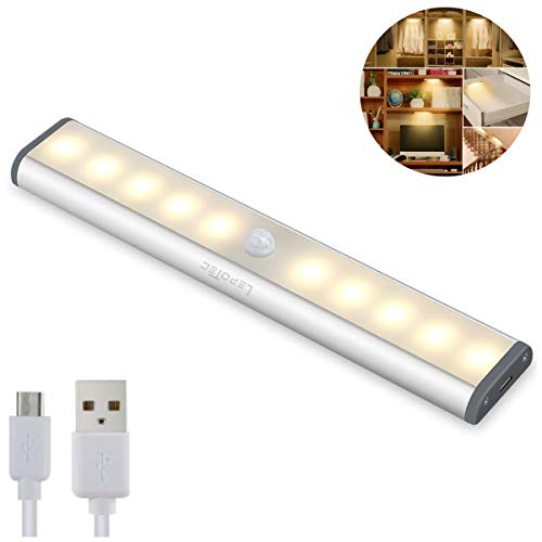 Bewegingssensor Kastverlichting, Verlichting onder de kast, 10 LED draadloze USB oplaadbare keukenverlichting, op batterijen werkende lampen, Stick On Lights voor kledingkast, kasten, kast, warm wit