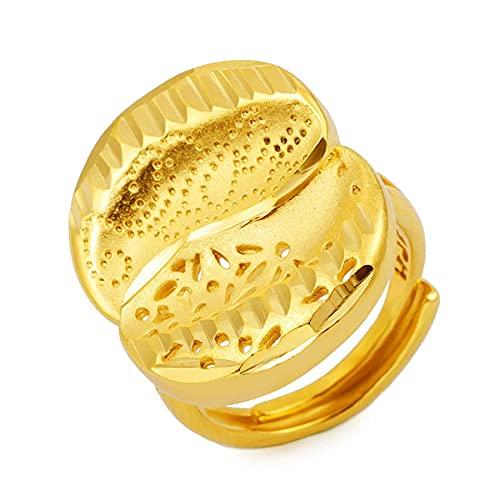 Anillos de Color dorado de 24 K para mujer, joyería estética Vintage africana de Oriente Medio, anillo de dedo de boda para fiesta, joyería india