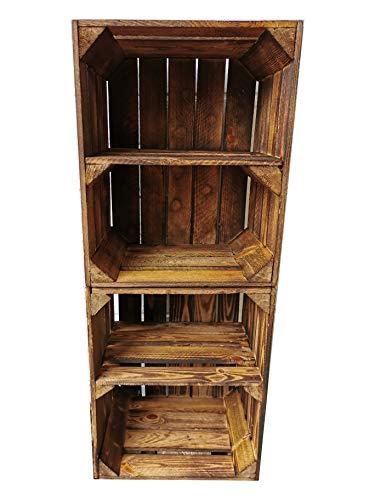 Alte geflammte Obstkisten/Holzkisten in vielen Variationen -Ideal zum Möbelbau oder zur Aufbewahrung- Sehr massiv und stabil verarbeitet (2er Set Boden Quer)