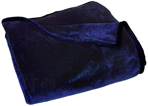 Chezmoi Collection Heavy Thick One Ply Korean Style Faux Mink Blanket 9-Pound Oversized King 105x92 (King, Navy)