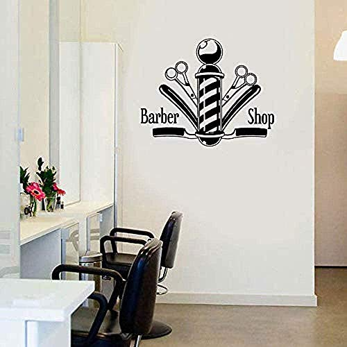 Muursticker muurschilderingen muursticker Hair Nail Salon Signboard Barber Shop Schaar voor venster Waterdicht 58X72cm