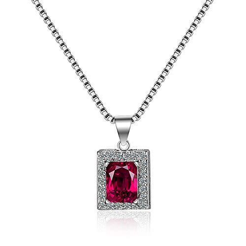 YioKpro Collar Retro para Mujer con Colgante de Piedras Preciosas de circonita rubí geométrica, Accesorios de joyería de Plata 925 para Compromiso de Boda