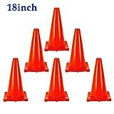 6 piezas 18' 45cm PVC Conos De Tráfico Por Carretera Cono De Seguridad De Estacionamiento Seguridad De Aislamiento Vial Señal De Advertencia Reflectante Roja Conos De Seguridad Vial