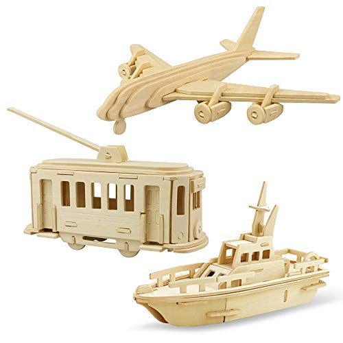 Georgie Porgy Modelos de Animales de Madera en 3D, Kit de Construcción de Artesanía en Madera de Rompecabezas ños de Edad para Niños de 5+ (3 Piezas) (Aviones Tranvía Bote Salvavidas)