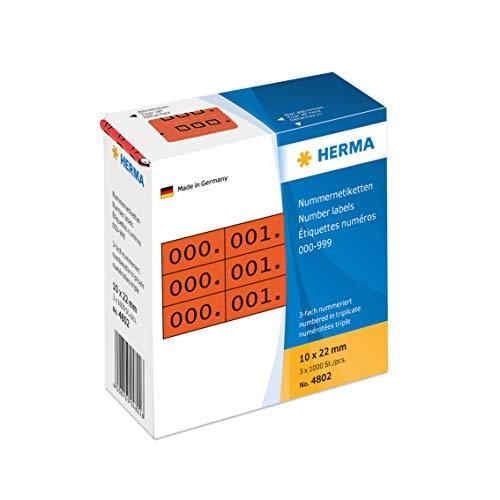HERMA 4802 Nummernetiketten Zahlen 0 - 999, dreifach (22 x 10 mm, Papier, matt) selbstklebend, permanent haftend, fortlaufende Zahlenetiketten im Kartonspender, 3.000 Etiketten, rot