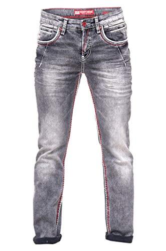 Rusty Neal Jeanshose Herren Dicke Naht Weiße Ziernaht Grau Jeans Regular Fit Stretch -45, Hosengröße:34/34