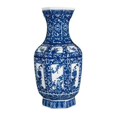 ZUQIEE Olla de Flores Imitación Azul y Blanco Antiguo florero de cerámica...