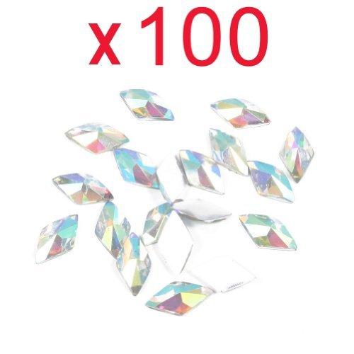 Cinq Saisons 100 Cabochons colorés Rhombus strass à dos plat acrylique strass pour nail art