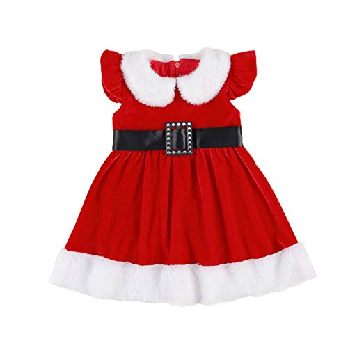 Toddler Baby Girl Christmas Outfit Sleeveless Red Velvet Ruffle Princess Dress Fur Trim and Belt Baby Santa Outfit (Red, 3-4 Years)