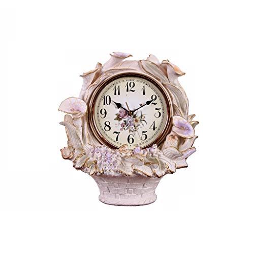 hkwshop Reloj de Escritorio Resina Flor Cesta Mesa Reloj Sala de Estar decoración de Mesa Reloj Creativo Reloj decoración casero Mute pequeña Mesa Reloj gabinete Reloj Rosa Reloj de Mesa