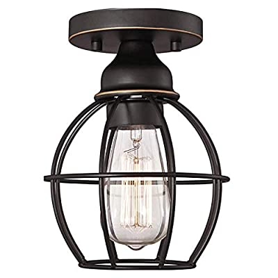 Vintage Semi Flush Mounted Ceiling Light - Industrial Mini Metal Cage Pendant Light E26 Oil Rubbed Bronze Finish 6.69in Wide Hallway Lighting Fixture Farmhouse Lamp for Kitchen Entryway Foyer Outdoor
