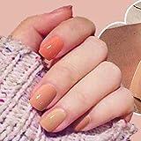 Brishow uñas postizas de forma cuadrada uñas falsas cortas brillantes uñas artificiales Full Cover clavos Stick On clavos 24 piezas Set para mujeres o niñas (natural)