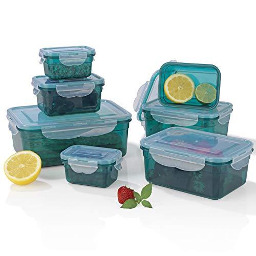 Gourmetmaxx 02914 Contenitori > klick-it < | Adatto a microonde, congelatore e lavastoviglie | BPA-Free | 14 Parti | Verde Smeraldo, Plastica Senza, 0 Inches