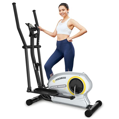 pooboo Elliptical Trainer Magnetic Elliptical Machines for Home Use Portable Elliptical Trainer with Pulse Rate and LCD Monitor (apricotbuff)