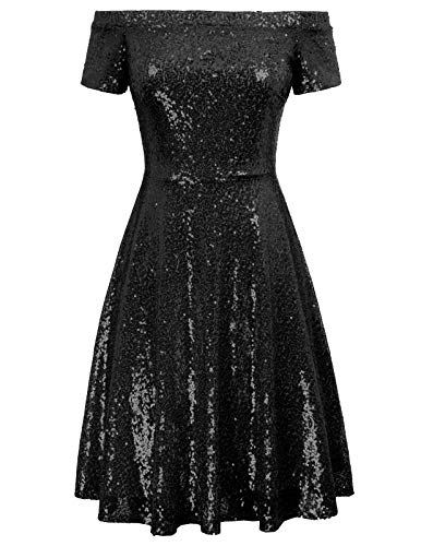 GRACE KARIN Sequin Kleid Kurzarm Kleid cocktailkleid mit ärmel Damen Glitzer Kleid CL891-4 2XL