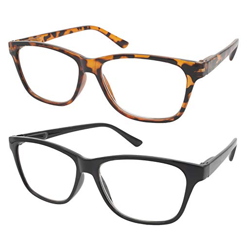 TBOC Gafas de Lectura Presbicia Vista Cansada - (Pack 2 Unidades) Graduadas +1.50 Dioptrías Montura de Pasta [Carey + Negra] de Diseño Moda Hombre Mujer Unisex Lentes de Aumento Leer Ver de Cerca