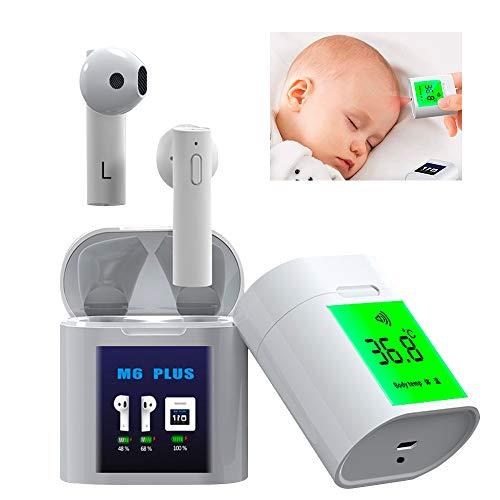 BECROWMEU Draadloze Oordoppen, 5.0 Bluetooth Oortelefoon TWS in-ear Stereo Hoofdtelefoon Ingebouwde microfoon met LCD Digitale Temperatuur, Automatische One-Step Pairing, Geluidsisolatie