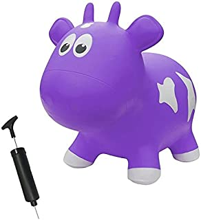 Farm Hoppers Award Winning Inflatable Toddler Safe Bouncing Purple Cow Plus Pump