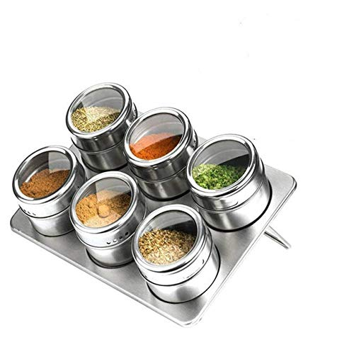 Lichtgewicht en handig 4/6/9 Pieces Magnetic Spice Jars Set Stainless Steel Zout en Pepper Spray Shakers kruidenrek kruiden Box Kruiderij Container hjm wujingongju (Color : 6pcs Random Color)